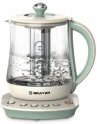 Электрический чайник BRAYER BR1015 2200 Вт, 1,5 л, подставка, подогрев 40-100 °С, заваривание чая, стекло