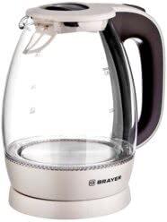 Чайник электрический BRAYER BR1045BN, 2200 Вт, 1,8 л, высококачественное стекло, моющийся фильтр,поворотное основание