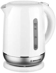 Чайник электрический BRAYER BR1011, 2200 Вт, 1,7 л, термостойкий пластик, автоотключение, STRIX, моющийся фильтр