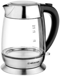 Чайник электрический BRAYER BR1010, 2200 Вт, 1,7 л, высокопрочное стекло,автоотключение, противоскользящее основание